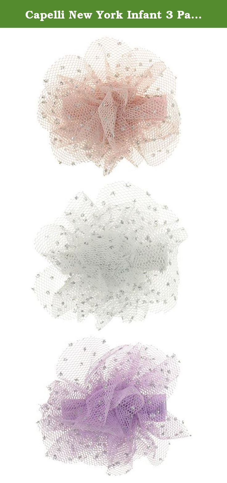 Capelli New York Infant 3 Pack Mesh Flower Clips With Glitter Dots Pelican Pastel Combo One Size. Embellish your locks with exclusively designed Capelli New York hair accessories. Our chic collection offers decorative clips, claws, pins, pony holders, barrettes, headbands and head wraps which will add a fun and playful touch to any outfit. Whether you throw feathers in your long locks or you pull your hair up in a jeweled barrette, Capelli New York hair accessories will never let you have…