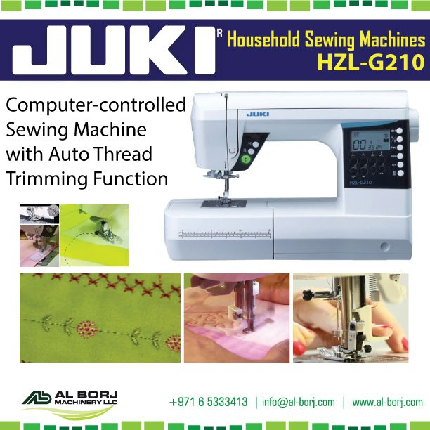 #Juki HZL-G210 #Domestic #SewingMachine | Get Excited about sewing again  with New G210. This delightful machine offers #computerized sewing with 180 stitch patterns, including professional quality buttonholes and 1 alphabet character set | for more detail and prices please contact us via hassan@alborj.com | +971 52 6675388 | www.al-borj.com |  shop.al-borj.com  #alborjmachineryllc #Sewing #Tailor #Household #Fashion #buttonhole #Dubai #UAE #Jeddah #Nairobi #AddisAbaba #Amman