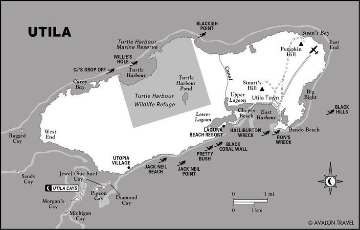 utila honduras   Utila, Honduras map