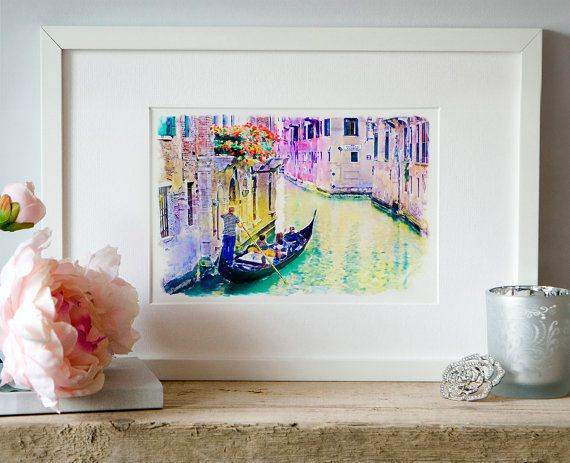 Venice Canal Watercolor painting Wall art Printable by Artsyndrome
