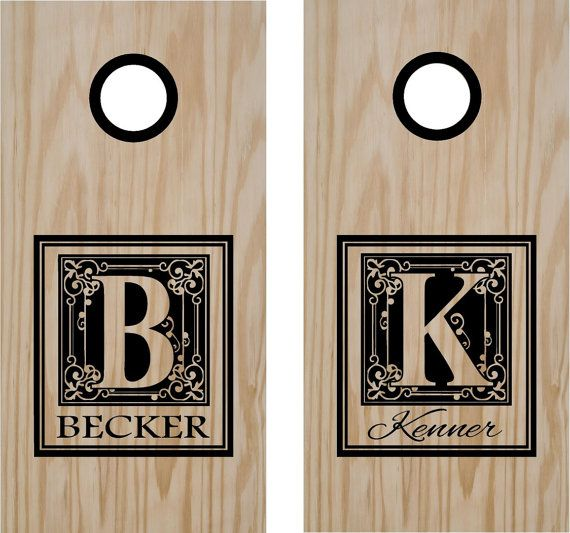 Monogram Family Name Hunting Cornhole Board Decals by StickerChef