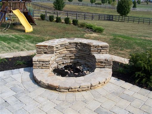 small outdoor patio designs plans with fire pit - Google Search