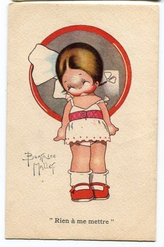 """Beatrice Mallet postcard """"Nothing to put on!"""" 