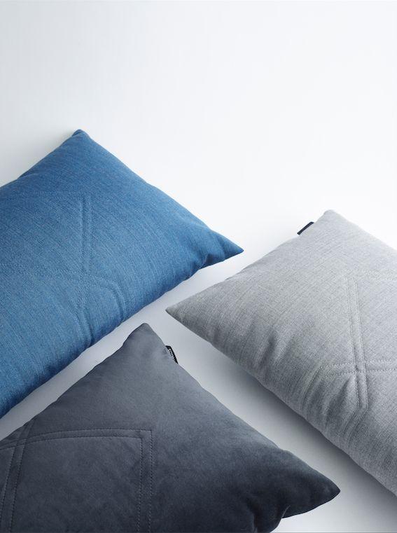Louise Roe Copenhagen SS16 Diamond cushion in velvet and fabric from Kvadrat Textile