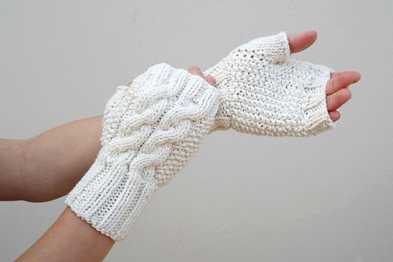 Knit Double Cable Fingerless Gloves, Beige Mittens, Arm