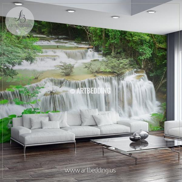 Huay Mae Khamin Waterfalls Thailand Wall Mural Self Adhesive Peel Waterfalls Backyard Decor Wall Murals