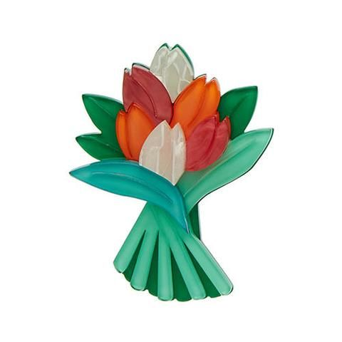 "Erstwilder Limited Edition Tulip Bouquet Brooch. ""A symbol of paradise on earth and a representation of the briefness of life. Boy this bunch have a lot to live up to!"""