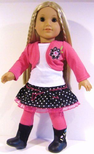 "Pink Dot Ruffle Skirt Outfit Doll Clothes Fits 18"" American Girl Doll *includes Skirt, Jacket, White Top, Leggings* by The Wishlist Store, http://www.amazon.com/dp/B00CVDTNWK/ref=cm_sw_r_pi_dp_TMWHsb1R0WQ9J"