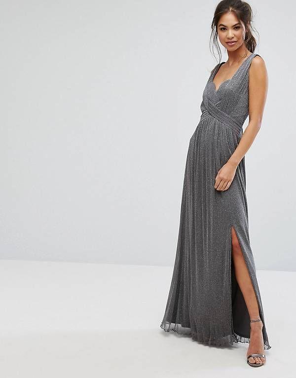 030d85087bd0 Little Mistress Metallic Jersey Maxi Dress With Wrap Detail | My ...