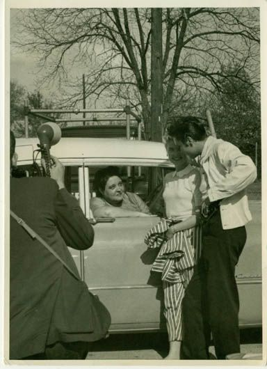 very rare pictures of elvis graceland - April 19th '57 - probably when he gave Gladys the pink Cadillac.