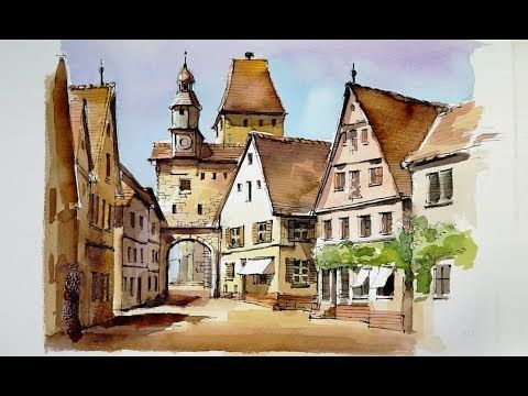 Pen and Wash Watercolor demonstration : Old Quarter - YouTube