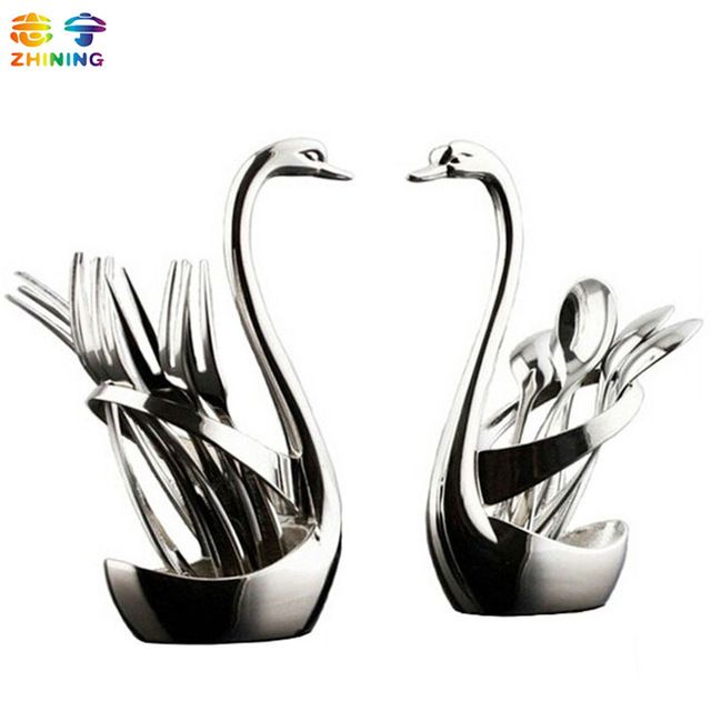 Fair price Swan Dinnerware spoon sets 7pcs/set 3 spoon+3 fork+1 holder wedding party fruit tableware set dinnerware sets free shipping Q264 just only $15.39 with free shipping worldwide  #dinnerware Plese click on picture to see our special price for you