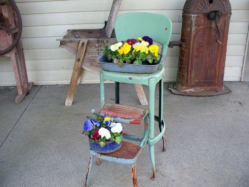 Vtg Industrial Metal Chair Stepstool Ladder Rustic