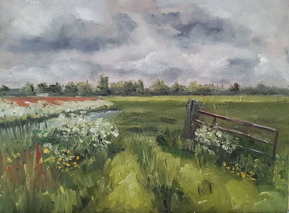 Fence Painting  Dutch Sky Painting  Original by NancyvandenBoom