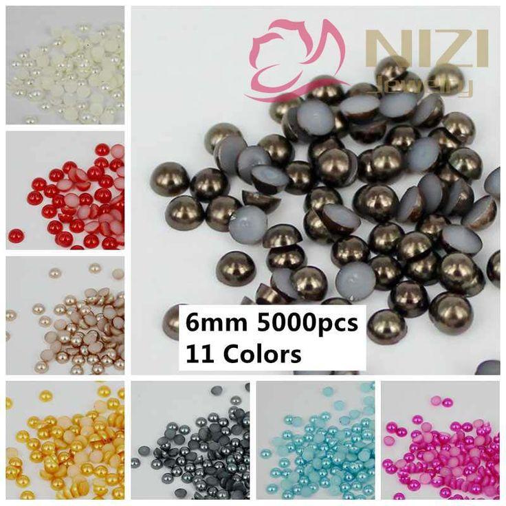 New Nails Art Half Round Pearls 5000pcs 6mm Loose Imitation Glue On Resin Beads 3D Rhinestones DIY Decoration Colors #14-#24