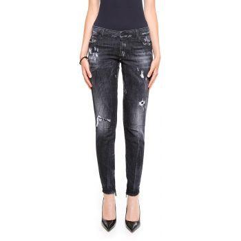 Blugi DSQUARED2 Jeans NERO dama - Blugi moderni cu aspect uzat si cu rupturi