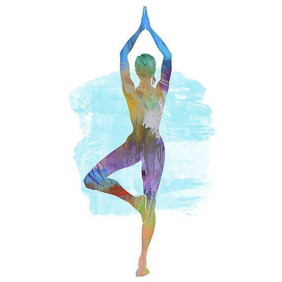 Yoga Art TREE POSE 2  Large Yoga Wall Art Yoga Pose by YogaColors