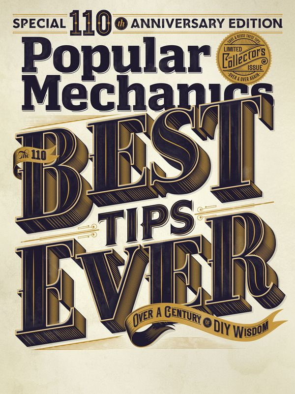POPULAR MECHANICS USA - 110th Anniversary Edition Cover  By Jordan MetcalfDesign Inspiration, Vintage Typography, Jordans Metcalfe, Typography Design, Types Design, Graphics Design, Popular Mechanics, Magazines Covers, Typography Inspiration