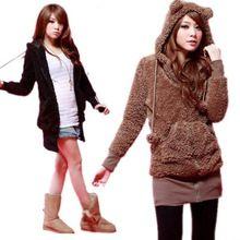 Womens Hoodie Fleece Warm Winter Zipper Teddy Bear Ear Coat Jacket Outwear Tops Free Shipping(China (Mainland))