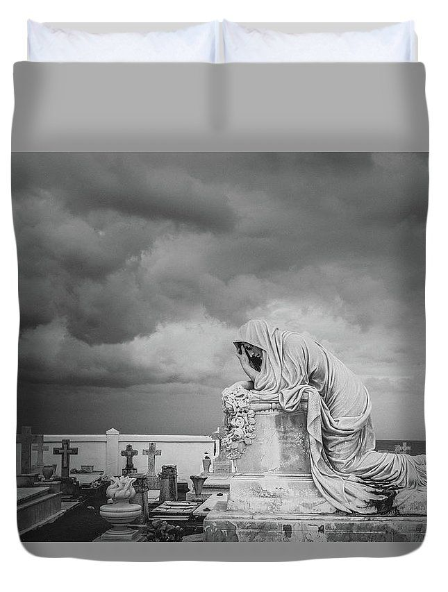 """One Must Not Be Defeated...black and white photographic image from a cemetery in Old San Juan, Puerto Rico by Valerie Rosen Photography on a duvet cover for the bedroom."