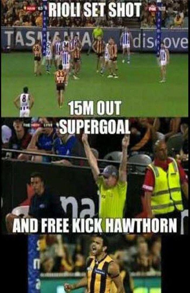 Rioli supergoal from a free kick. Free Kick Hawthorn.