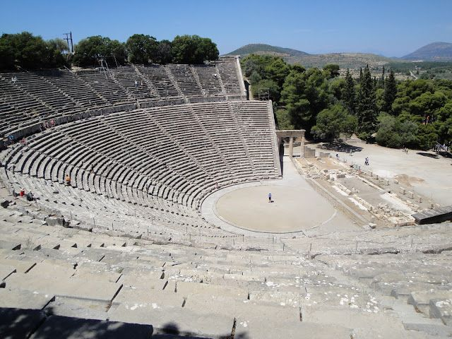 Seats helped ancient Greeks hear from back row.  Tourist guides send visitors up to the back row and then drop a small coin in the center of the stage..you can hear it with great clarity...they did not set out to achieve this incredible audio when they built it - Epidaurus.
