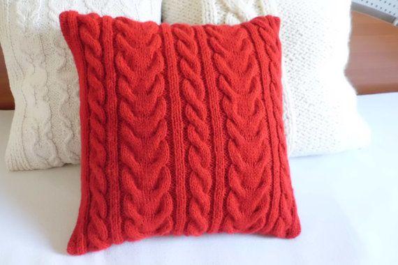 Cavo rosso personalizzato maglia divano cuscino di Adorablewares