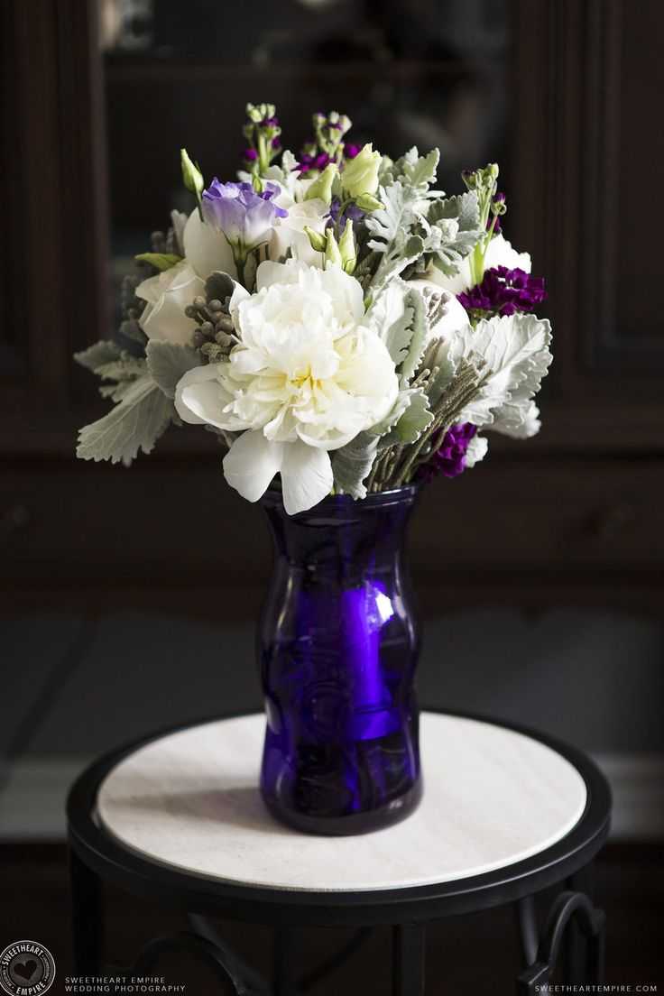 Bridal bouquet in white, purple and soft greens. Oakville wedding photographer #sweetheartempirephotography