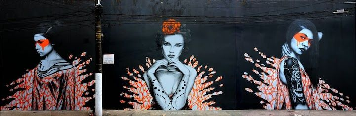 Beautiful Empowered #Women Depicted in Orange Splashes of #Paint  #street #art