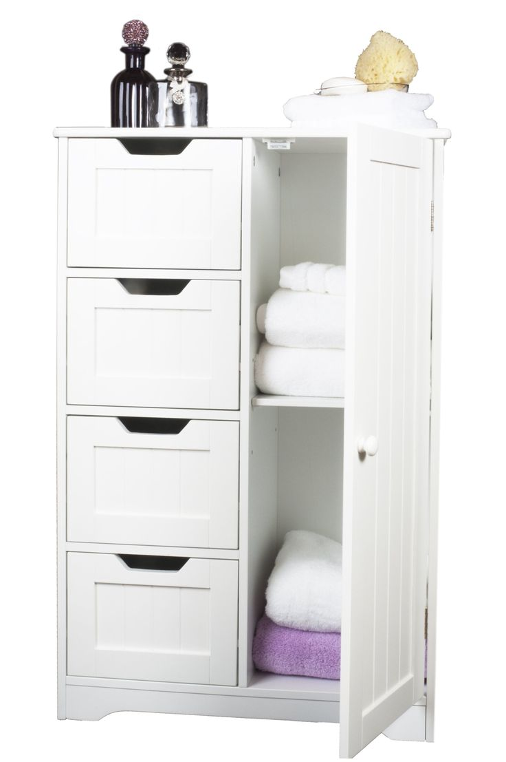 White Wooden Cabinet With Four Drawers And Cupboard