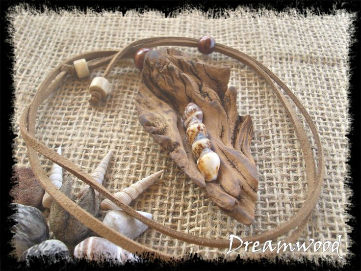handmade driftwood necklace (leather, sheashells, and driftwood from Aegean Sea, Chalkidiki, Greece) https://www.facebook.com/dreamwoodart