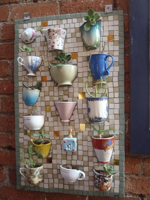 mosaic board with half-teacups/coffee mugs - to plant succulents and/or herbs - unique garden decor