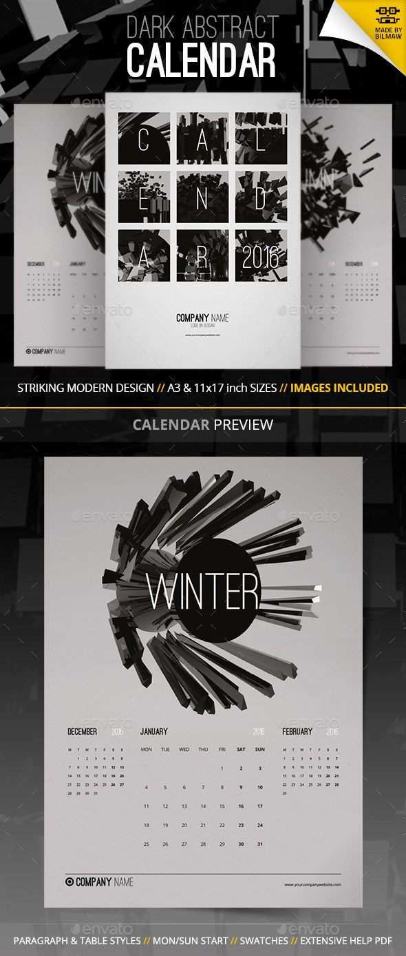 Abstract modern monthly calendar template 2016