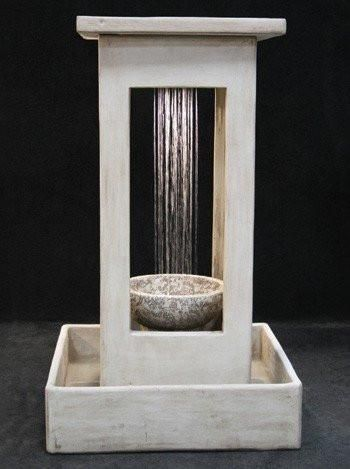 Smooth Center Rain Outdoor Fountain With Bowl and Square Basin, Large Outdoor Fountains - Outdoor Fountain Pros