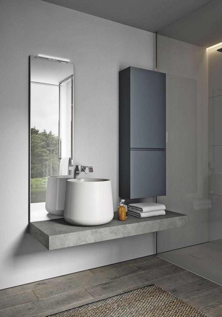 Doppel-Waschtischunterschrank / hängend / freistehend / Holzfurnier - CUBIK - IDEAGROUP