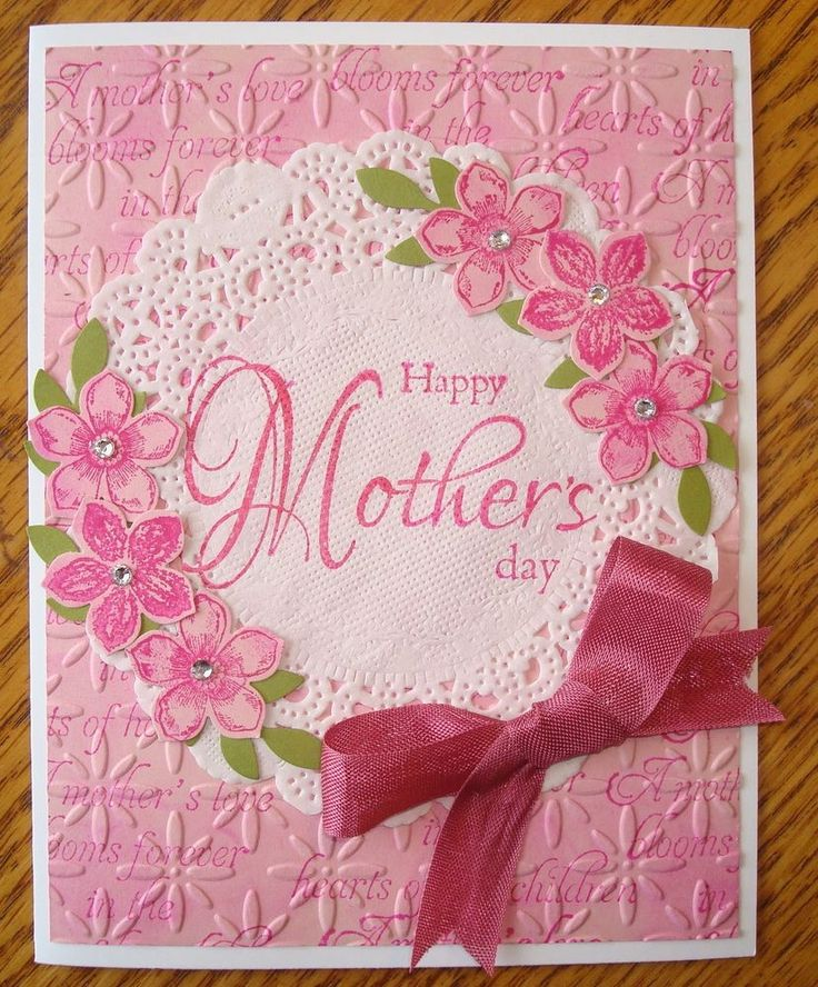 Mother's Day Card Kit (Petite Flowers Stamp and Punch Doily Card) w/Stampin Up