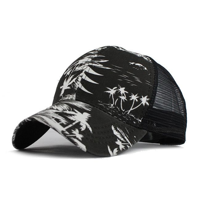 New Summer Fitted Baseball Caps For Men Snapback Caps Women Mesh Tree Leaf Breathable Casual Letters Hats