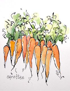 Look at her blog... Love her simplistic ink and color.... Sketchbook Wandering: Joyful Vegetables