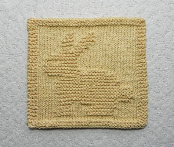 Baby Wash Cloth BUNNY RABBIT Knit Dishcloth Hand Knitted Unique Design - 100% Cotton Country Yellow - Baby Shower Gift / Easter Bunny on Etsy, $6.50