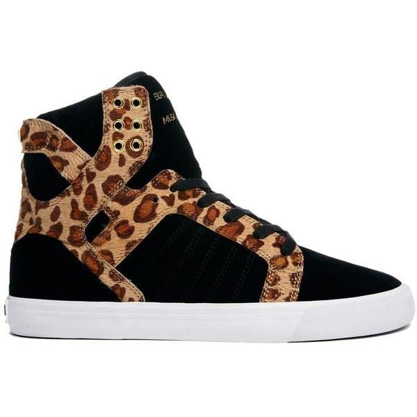 Supra A-Morir Skytop Cheetah Print Hi Top Trainers (77 AUD) ❤ liked on Polyvore featuring shoes, sneakers, zapatos, supra footwear, lace up shoes, cheetah print high top sneakers, supra high tops and supra shoes