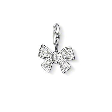"THOMAS SABO Charm pendant ""bow"" with lobster clasp 925 Sterling silver white syn. zirconia-pavé. Classically beautiful: the syn. Zirconia-adorned bow is perfect with a little black dress.  Size: 1.5 cm"