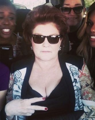 Kate Mulgrew surrounded by the cast of OITNB - 2014