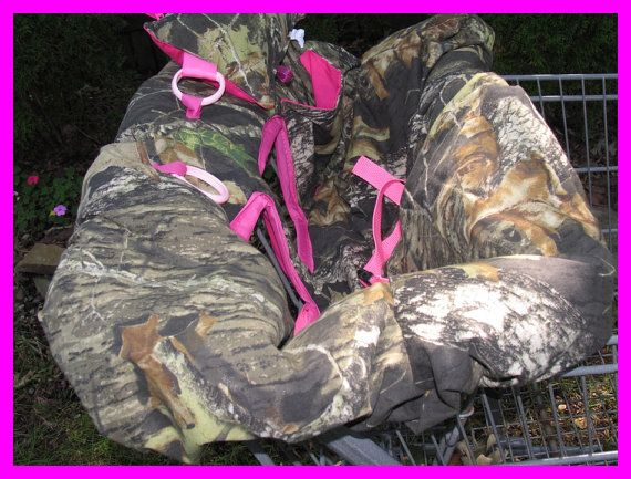 Shopping Cart cover, high chair cover, mossy oak camouflage camo with hot pink, pillow pocket ready to ship