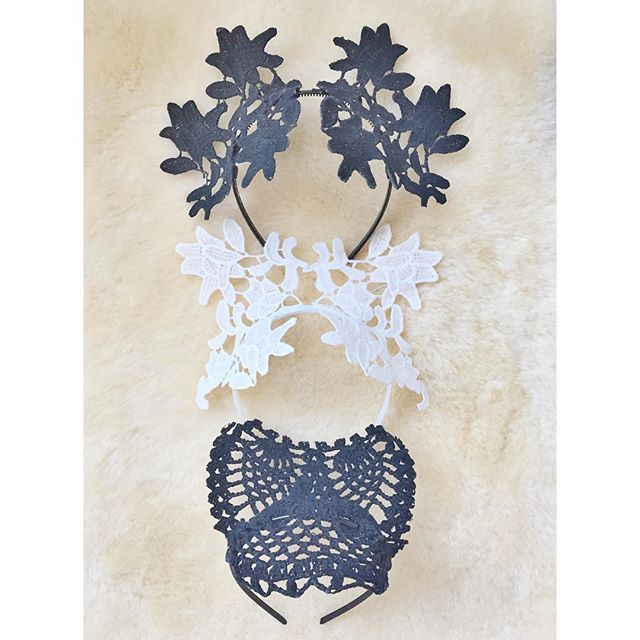 Black and white lace crowns / headpieces by Alea Headpieces. Perfect millinery / fascinators for the races and bridal events: hens nights, bridal showers and engagement parties. Shop what's available with worldwide shipping x
