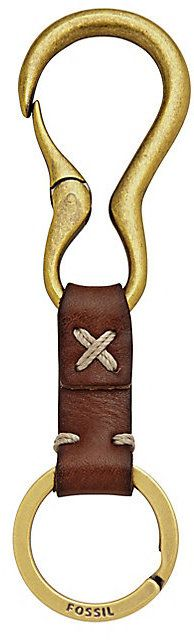 Fossil Woodsman brown leather key fob