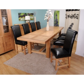 Grand Marseilles Large Oak Dining Table with 8 Richmond Black Leather Chairs - Set  www.easyfurn.co.uk