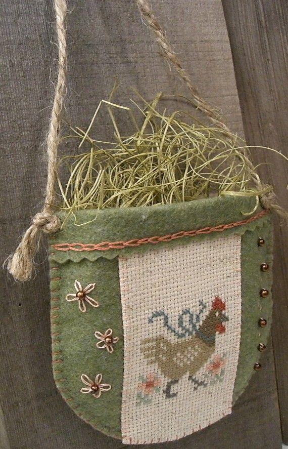 Cross Stitch Barnyard Hen Felt Wall Pocket