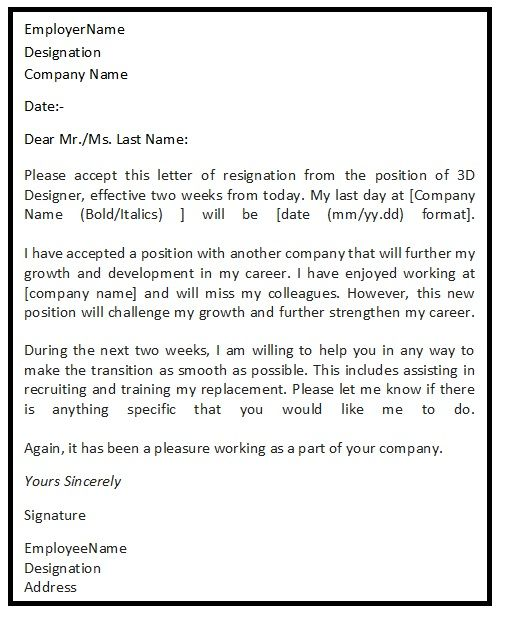 25 best ideas about Sample of resignation letter – Sample of Resignation Letter for Employee