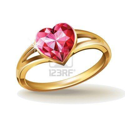 anillo de oro con piedras preciosas de color rosa del corazón Foto de archivo - 11813600
