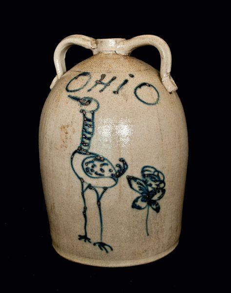 """Six-Gallon Red Wing Stoneware Jug, Inscribed """"OHiO,"""" Minnesota origin, circa 1880"""